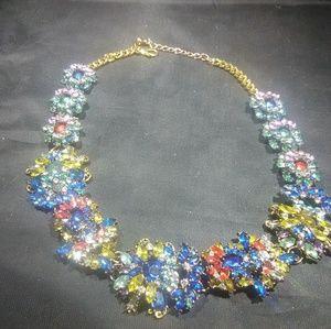 Rhinestone necklace glass women's multicolored